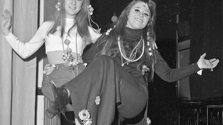 Costumed dancers at Weston's 1970 Arts Ball. Flower children Beverly Grant and Jacqui Lee. Pictu