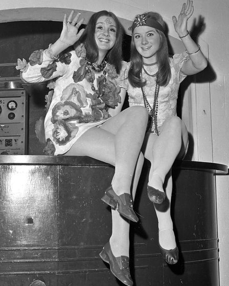 Costumed dancers at Weston's 1970 Arts Ball. Flower children Mandy Doherty and Tansin Shallish.