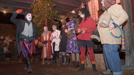 Mummers entertaining the guest at Westcroft Farm's Wassail. Picture: MARK ATHERTON
