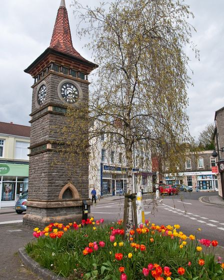 Clevedon Triangle with its historic clock tower.