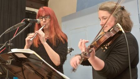 Nicky Tiddy and Catherine Black from the Lochrian Ceilidh Band at Yatton Burns Night . Picture: