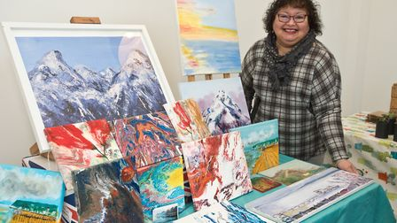 """Artist Linda Chan with her """"Music for the Eyes"""" artwork. Picture: MARK ATHERTON"""