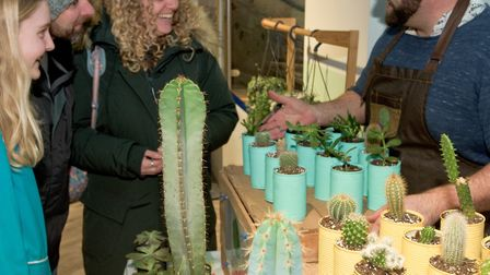 Coastal Succulents, Cacti and Alpines Chris Rixton with customers at the Weston Collective and Oxhou