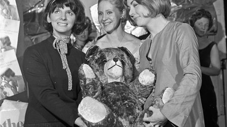 Weston Round Table's 13th annual charity ball, With a giant prize teddy bear are Maureen Guest, June