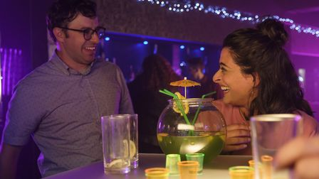 Simon Bird as Nathan Wild and Natalie Dew as Emily Verma in Sandylands. Pictures UKTV