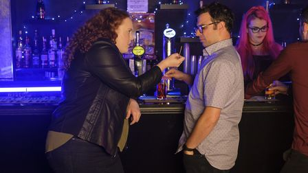 Bronwyn James as Trudy Wright and Simon Bird as Nathan Wild in Sandylands. Pictures UKTV