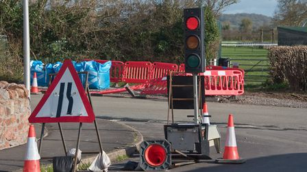 The temporary traffic lights in place at Cox's Green. Picture: MARK ATHERTON