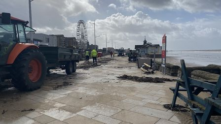 The mess being cleared along the promenade