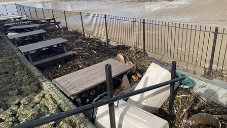 The aftermath of the high tides in Weston yesterday