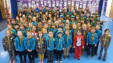 Pupils from Golden Valley Primary School celebrating World Thinking Day.