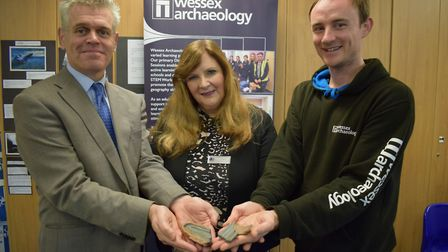 Jon Heywood, Deputy Head Teacher. Joyce Millard, Cadbury House. Sam Fieldhouse, Wessex Archaeology.