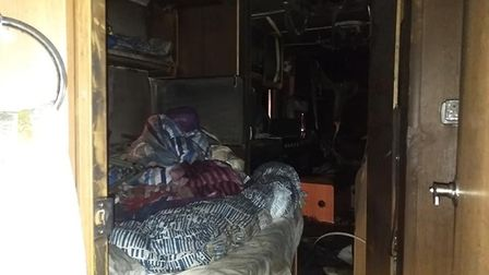 Firefighter attended a caravan fire in Edithmead last night. Picture: Burnham Fire Station