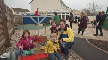 Families exploring the garden at the reopening of the Ready Steady Go Nursery in Worle. Pictur