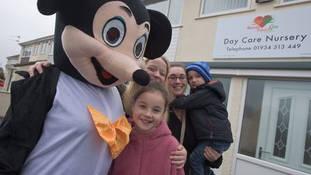 Mickey Mouse at the reopening of the Ready Steady Go Nursery in Worle. Picture: MARK ATHERTON