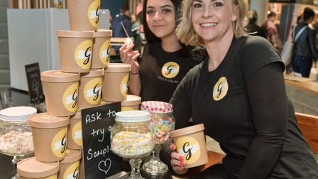 Somerset Pantry at the Sovereign Centre. Gemma and Faith Zair with Guilio's Italian icecream ready f