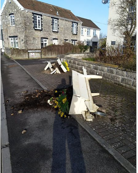 Vandals overturned the flower displays