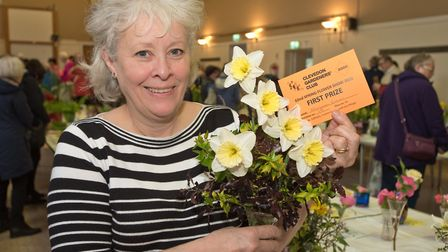 Miriam Evans and her display of daffodils. Picture: MARK ATHERTON