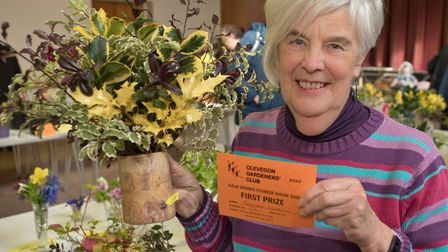 Sandra Wilkins with her prize winning display of foliage in a mug. Picture: MARK ATHERTON