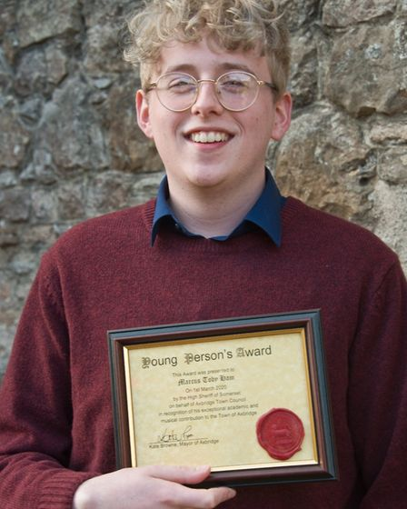 Marcus Toby Ham who received his civic award from the High Sheriff on behalf Axbridge Town Council.