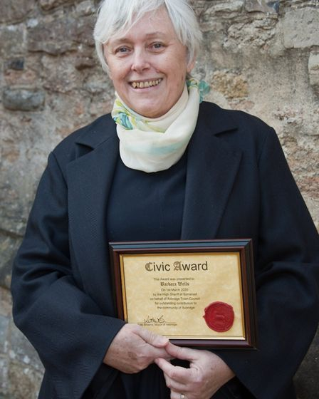 Barbara Wells who received her civic award from the High Sheriff on behalf Axbridge Town Council.