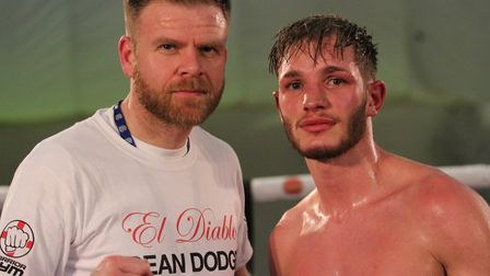 Dean Dodge and coach Dean Lewis after their victory over Sean Davis. (Picture: Josh Thomas).