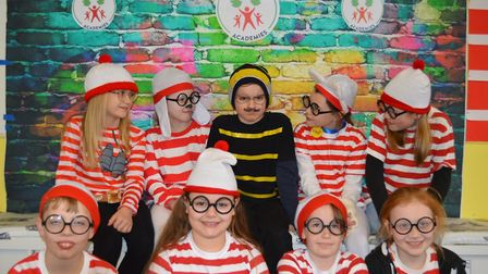 Youngsters dressed as Wheres Wally