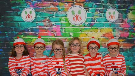 Youngsters dressed as Wheres Wally during their World Book Day celebrations