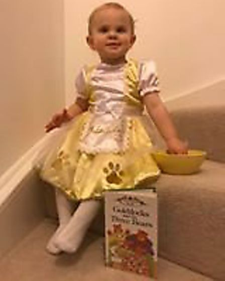 Lilly, aged 1, dressed as Goldlocks
