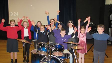 Harry Elmer with his drum kit and the other performers