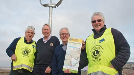 Weston Lions, John Holland (president), Chris Nelson, Andrew Bryant and Malcolm Timmis with one of t