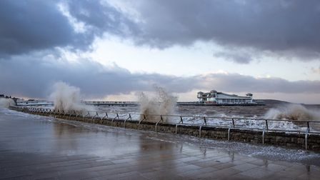 Strong winds and waves hit Weston during Storm Ciara. Picture: Kevin Duell