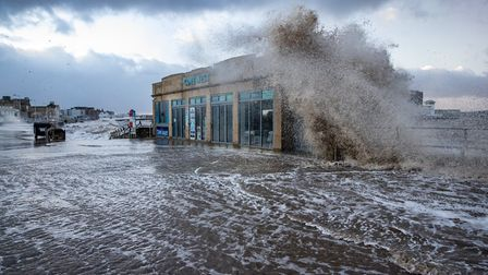 Cove West hit by waves during Storm Ciara. Picture: Kevin Duell