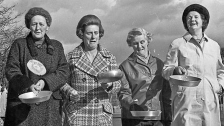 """Cleeve WI's annual pancake race. The grandmothers """"warm up"""" for their event. Picture: WESTON MER"""