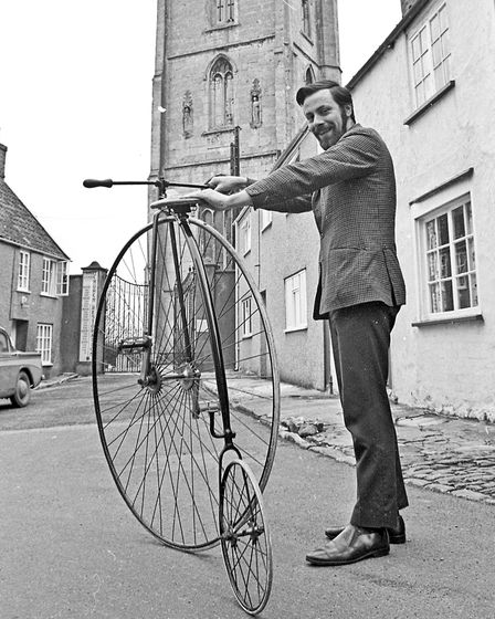 Bringing a touch of Victorian times to Banwell is Mr. Richard Winters, of West Street, whose penny f
