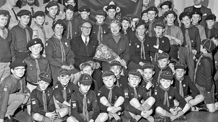 After 47 years in the Scout movement, Mr. E.S. Morris, Group Scout Leader with the 27th Birnbeck Com