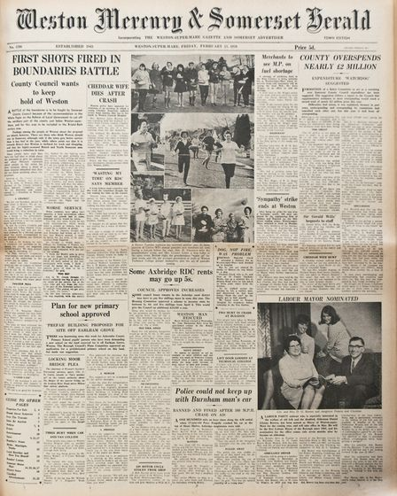 Front Page 13th February1970 Edition. Picture: WESTON MERCURY