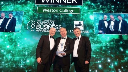 Weston College Principal, Dr Paul Phillips accepting the Employer of the year trophie at the Nationa