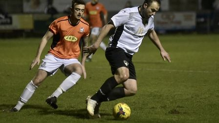 Mike Symons on the ball for Weston during their 5-0 win over Wimborne Town on Tuesday. (Picture: Mar