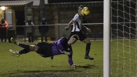 Action from Weston's clash with Wimborne (pic Mark Atherton)