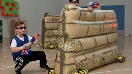 Youngsters enjoying the Nerf Ultimate Indoor Battlefield. Picture: MARK ATHERTON