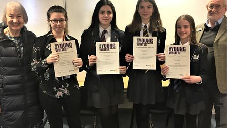 Gordano School winners at the Portishead Rotary Young Writer awards.Picture: Portishead Rotary