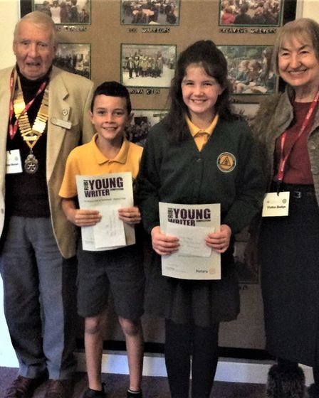 Trinity primary winners Emily and Isaac at the Portishead Rotary Young Writer awards.Picture: Portis