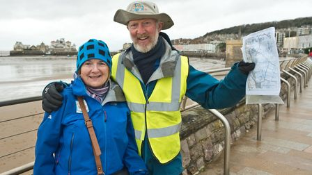Brian Burnie and his wife Cheryl passed through Weston on their 7,000-mile walk around the coast of