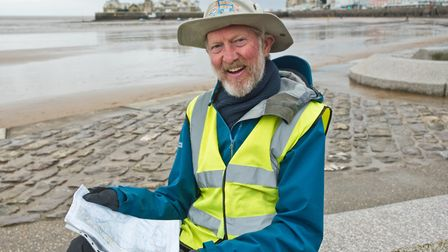 Brian Burnie passed through Weston on his 7,000-mile walk around the coast of the UK and Ireland.
