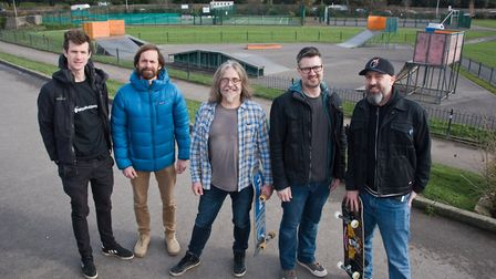 Clevedon Skate Project trustees (on right) Tom Knott, Paul Redford and Mads, meeting with their new