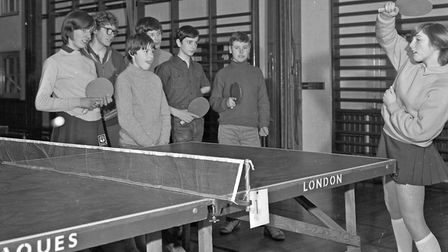 The Worle Secondary School Table Tennis team of Roger Wade, Kenneth Ede, Malcolm Gingell, Andrea Bee
