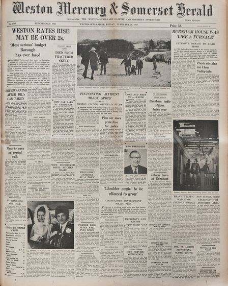 Front Page 20th February1970 Edition. Picture: WESTON MERCURY