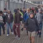 Walkers setting out on the Weston Hospicecare Men's March.