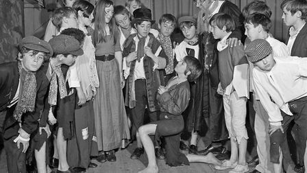 A scene from Walliscote School's production of Oliver! with Neil Dobson (Oliver), Brian Ackland (Art