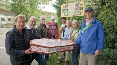 Coffin Lane footpath campaigners with County councillor Bob Filmer.